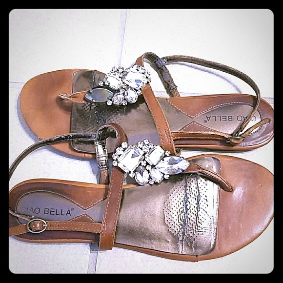 9f6ae0aa2 Ciao Bella Shoes - Size 9 tan with rhinestones leather sandal